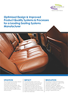 Optimized design & improved PQS – Seating systems manufacturing